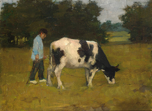 Art Prints of A Farmer with His Cow in the Meadow by Anton Mauve