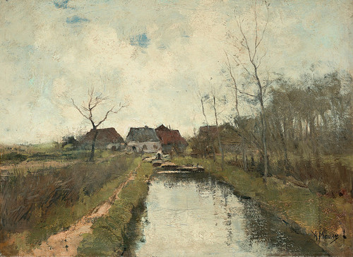 Art Prints of A Cottage by a Ditch by Anton Mauve