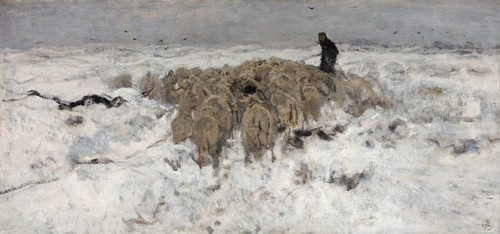 Art Prints of Flock of Sheep with Shepherd in the Snow by Anton Mauve