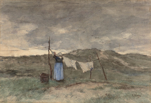 Art Prints of Woman with a Clothesline in the Dunes by Anton Mauve