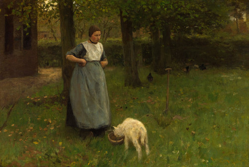 Art Prints of Woman from Laren with Lamb by Anton Mauve