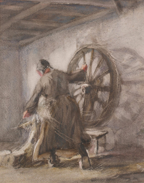 Art Prints of Woman at a Spinning Wheel by Anton Mauve
