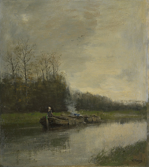 Art Prints of Two Barges on the Canal by Anton Mauve
