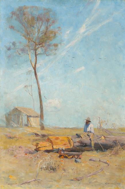 Art Prints of The Selectors Hut, Whelan on the Log by Arthur Streeton