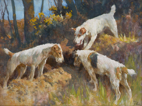 Art Prints of Gone to Ground, Three Terriers by Arthur Wardle