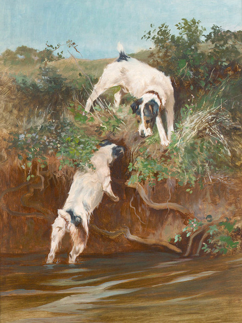 Art Prints of Terrier by a Riverbank by Arthur Wardle