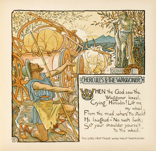Art Prints of Hercules and the Waggoner, Aesop's Fables