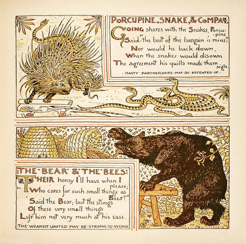Art Prints of Porcupine Snake and Company & Bear and Bees, Aesop's Fables