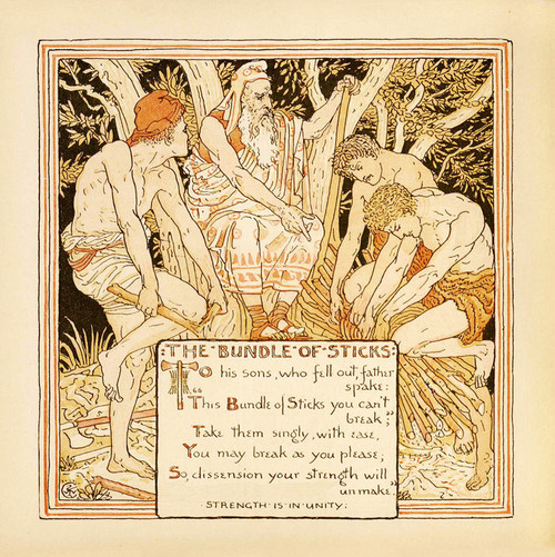 """Art Prints of The Bundle of Sticks """"Strength is in Unity"""", Aesop's Fables"""