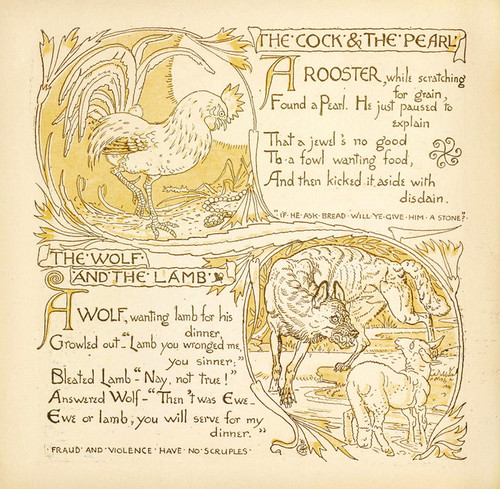 Art Prints of Cock and the Pearl & The Wolf and the Lamb, Aesop's Fables