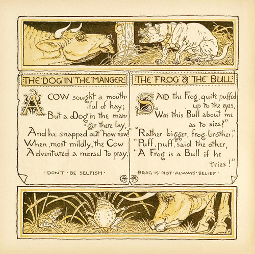 Art Prints of Dog in the Manger & The Frog and the Bull, Aesop's Fables