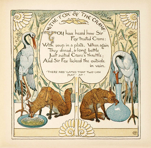 Art Prints of The Fox and the Crane, Aesop's Fables