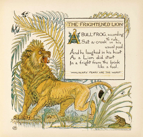 Art Prints of The Frightened Lion, Aesop's Fables