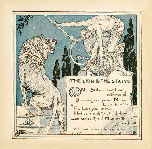 Art Prints of The Lion and the Statue, Aesop's Fables
