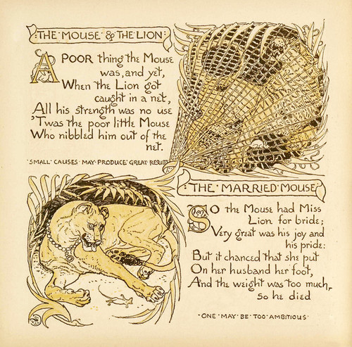 Art Prints of The Mouse and the Lion & The Married Mouse, Aesop's Fables