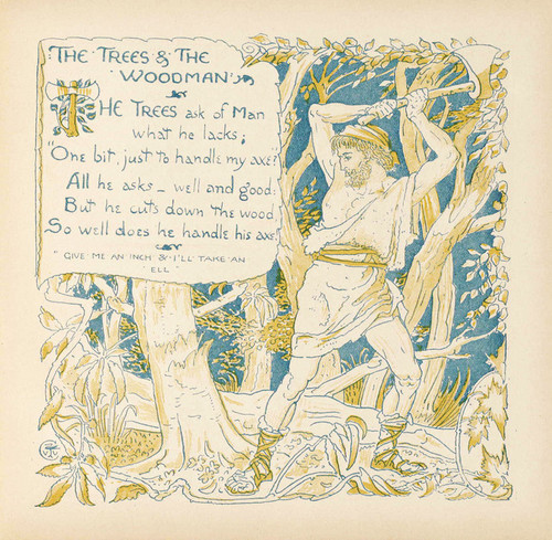Art Prints of The Trees and the Woodman, Aesop's Fables