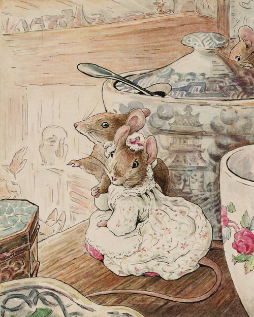 Art Prints of Mice Listen to Tailor on Shelf by Beatrix Potter