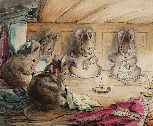 Art Prints of Mice Sewing the Mayor's Coat by Beatrix Potter