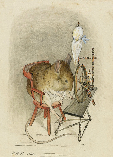 Art Prints of Mouse at a Spinning Wheel by Beatrix Potter
