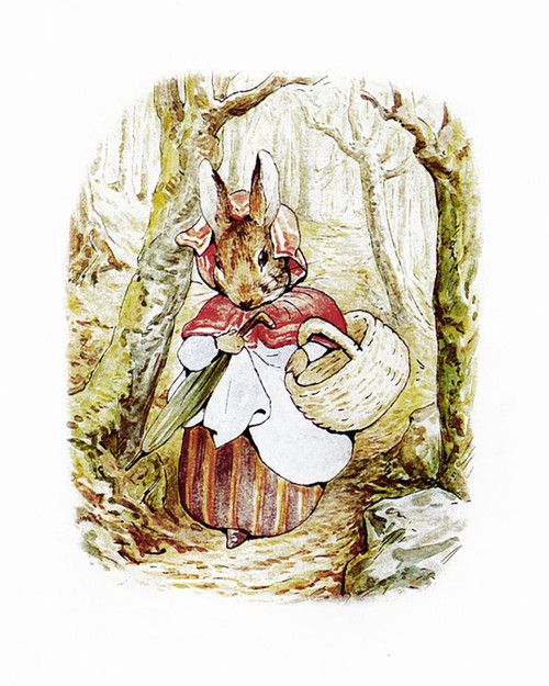 Art Prints of Mrs. Rabbit Walking in the Woods with Basket by Beatrix Potter