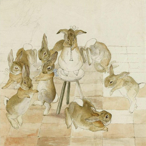 Art Prints of The Rabbit's Christmas Party, Dancing to a Piper by Beatrix Potter