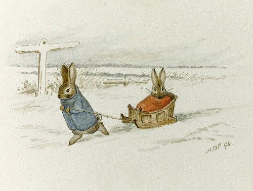 Art Prints of Rabbits Sledding by Beatrix Potter