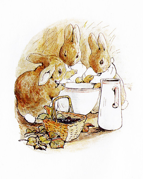 Art Prints of Three Bunnies Eat from a Bowl by Beatrix Potter