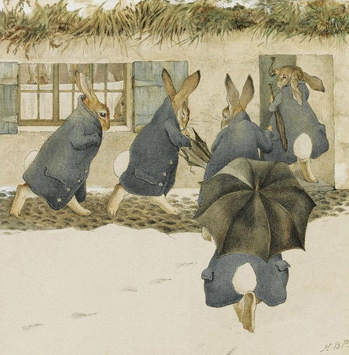 Art Prints of The Rabbit's Christmas Party, The Arrival by Beatrix Potter