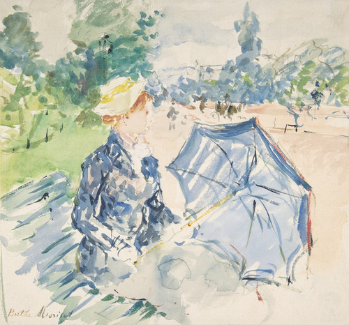 Art Prints of A Woman Seated on a Bench on the Avenue du Bois by Berthe Morisot