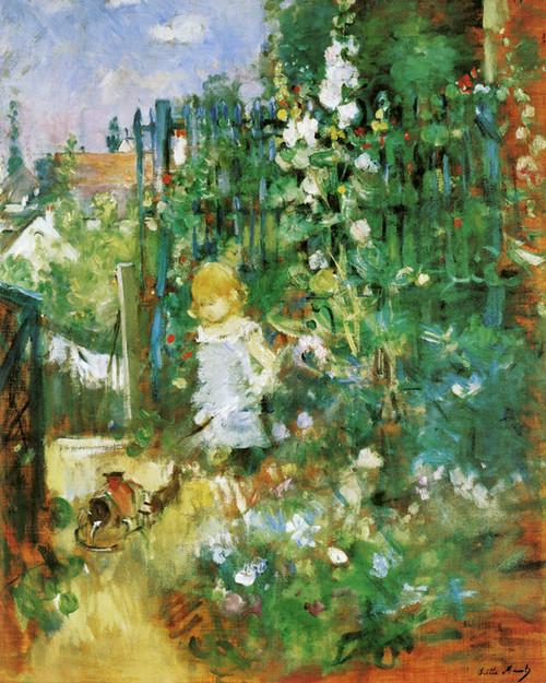 Art Prints of Child Among the Hollyhocks by Berthe Morisot