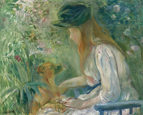 Art Prints of Girl with Dog by Berthe Morisot