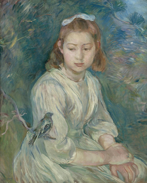 Art Prints of Girl with Bird by Berthe Morisot