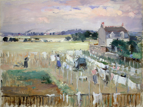 Art Prints of Hanging the Laundry out to Dry by Berthe Morisot