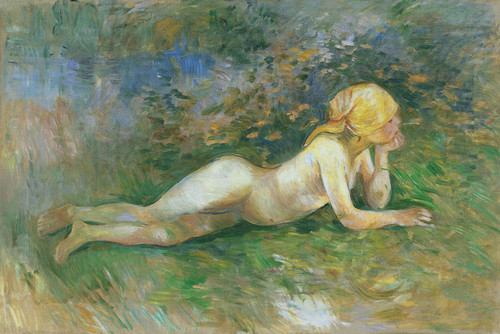 Art Prints of Reclining Nude Shepherdess by Berthe Morisot