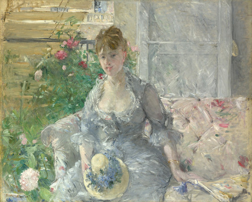 Art Prints of Young Woman Seated on a Sofa by Berthe Morisot