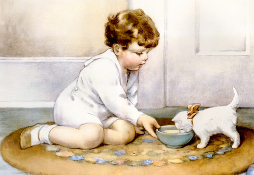 Art Prints of Feeding His Kitten Milk from the Green Bowl by Bessie Pease Gutmann