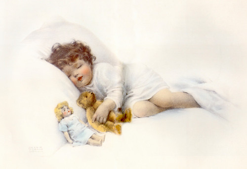 Art Prints of Sleeping Baby with Teddy Bear and Doll by Bessie Pease Gutmann