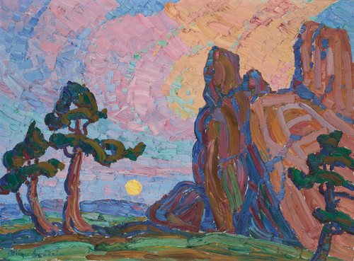Art Prints of Moonrise Among the Red Rocks by Birger Sandzen