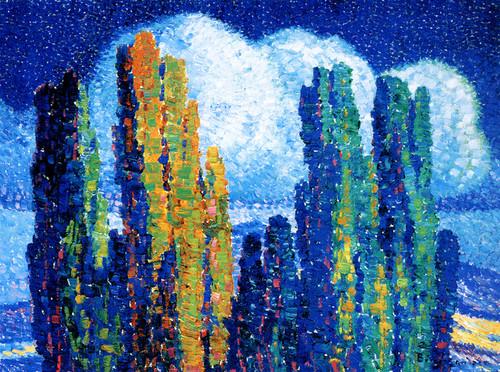 Art Prints of Poplars in Moonlight by Birger Sandzen