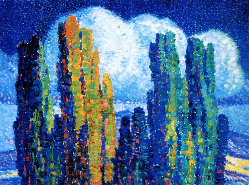 Art Prints of Poplars in Moonlight by Birger Sandzen