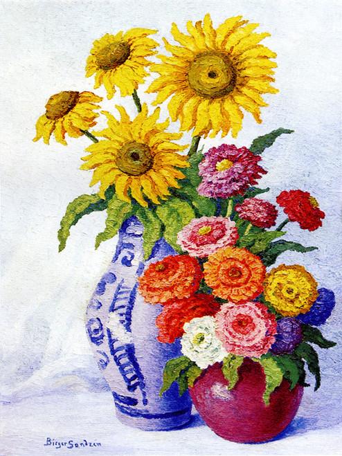 Art Prints of Sunflowers and Zinnias by Birger Sandzen