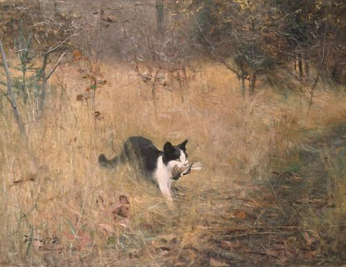 Art Prints of Cat Bird Hunting by Bruno Liljefors