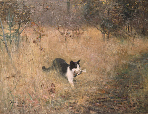Art Prints of Cat Bird Hunting by Bruno Liljefors
