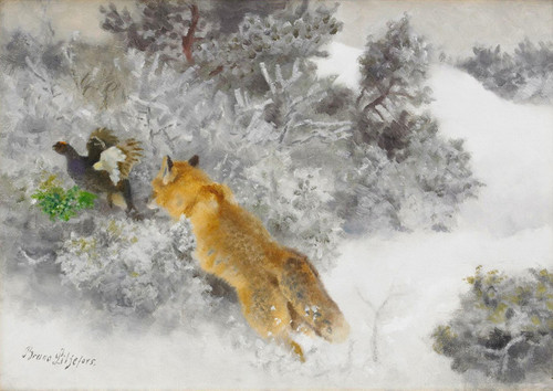 Art Prints of Fox and Black Grouse by Bruno Liljefors
