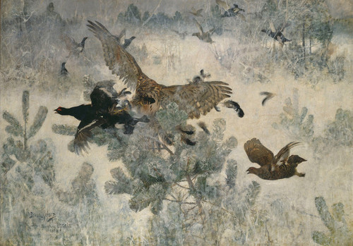 Art Prints of Hawk and Black Game by Bruno Liljefors