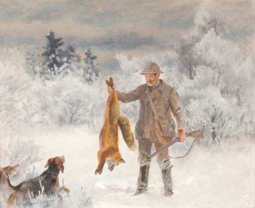 Art Prints of Hunter with Dogs and Fox by Bruno Liljefors