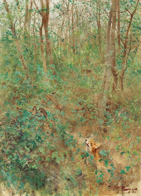 Art Prints of Fox Stalking Thrushes by Bruno Liljefors