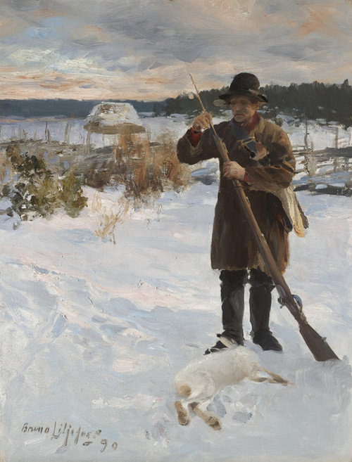Art Prints of Pheasant Hunter in a Winter Landscape by Bruno Liljefors
