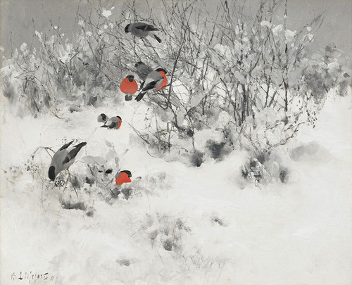 Art Prints of Winter Landscape with Bullfinches, 1891 by Bruno Liljefors