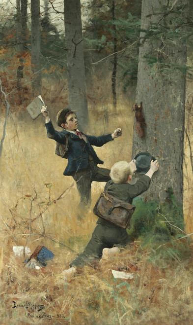 Art Prints of The Squirrel Catchers by Bruno Liljefors